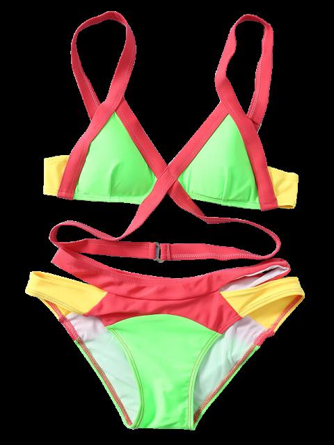 fancy Strappy Color Block Banded Bikini Set - NEON BRIGHT GREEN L Mobile
