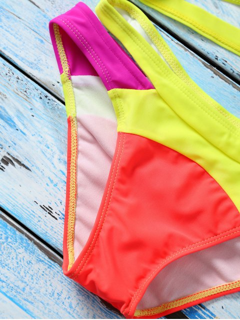 outfits Strappy Color Block Banded Bikini Set - JACINTH M Mobile