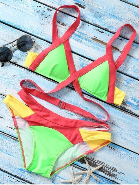 chic Strappy Color Block Banded Bikini Set - NEON BRIGHT GREEN M Mobile
