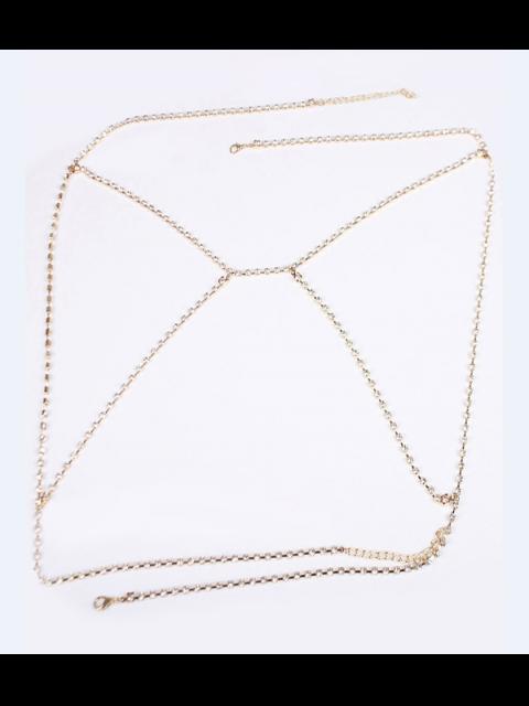 trendy Rhinestoned Bra Body Chain - GOLDEN  Mobile