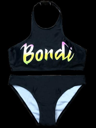 Halter Padded Letter Pattern Bikini - BLACK S Mobile