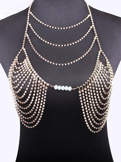 Beads Rhinestone Bra Body Chain - GOLDEN  Mobile