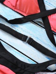 Strappy Color Block Banded Bikini Set - WATERMELON RED L