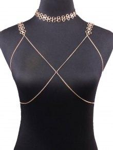 Buy Geometric Vintage Bra Body Chain Necklace - GOLDEN