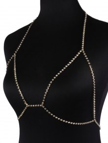 Rhinestoned Bra Body Chain - Golden