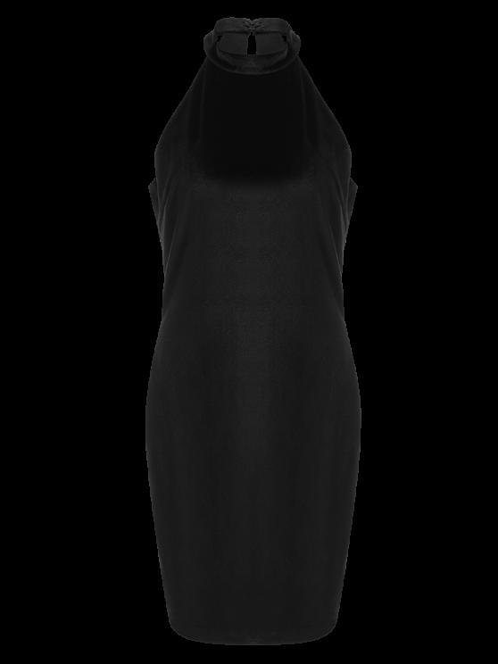 Halter Velvet Bodycon Dress - BLACK L Mobile