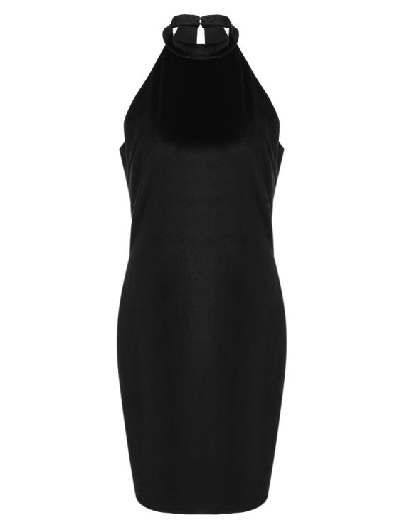 Halter Velvet Bodycon Dress - BLACK M Mobile