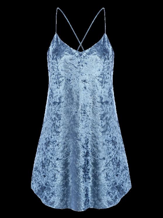 Crushed Velvet Cami Dress - LIGHT BLUE M Mobile