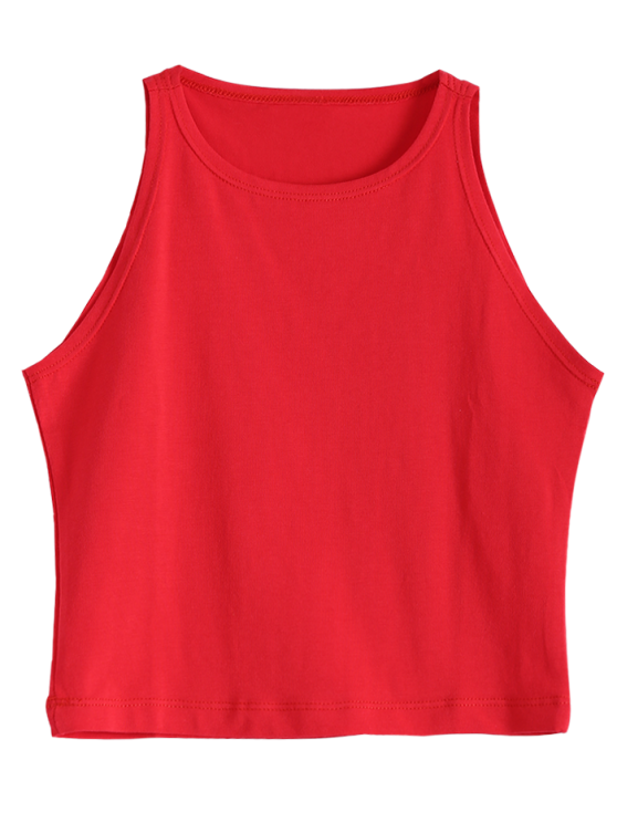 chic Cropped Ribbed Tank Top - RED M