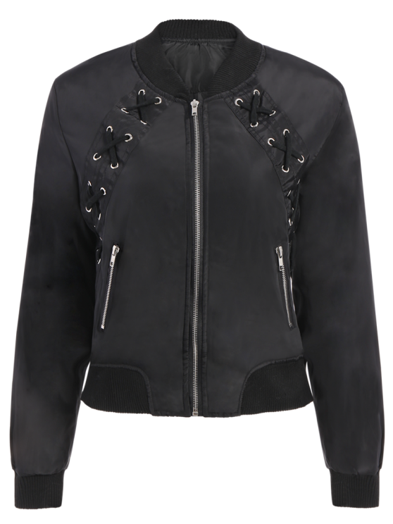 trendy Lace Up Stand Neck Zipper Jacket - BLACK L
