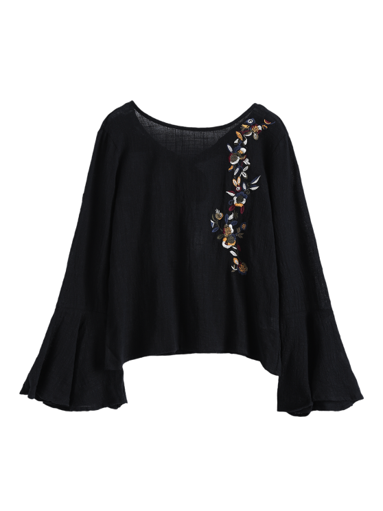 Bell Sleeve Floral Embroidered Blouse - BLACK M Mobile