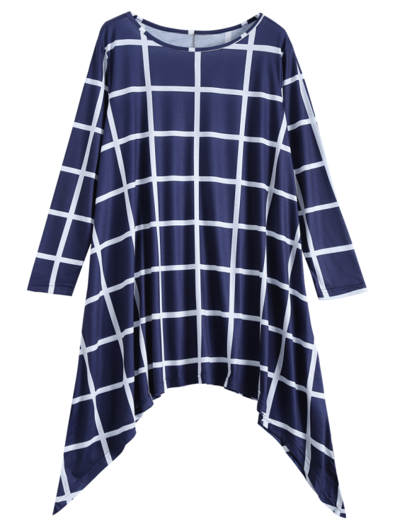 Plus Size Plaid Asymmetric Dress - BLUE AND WHITE XL Mobile