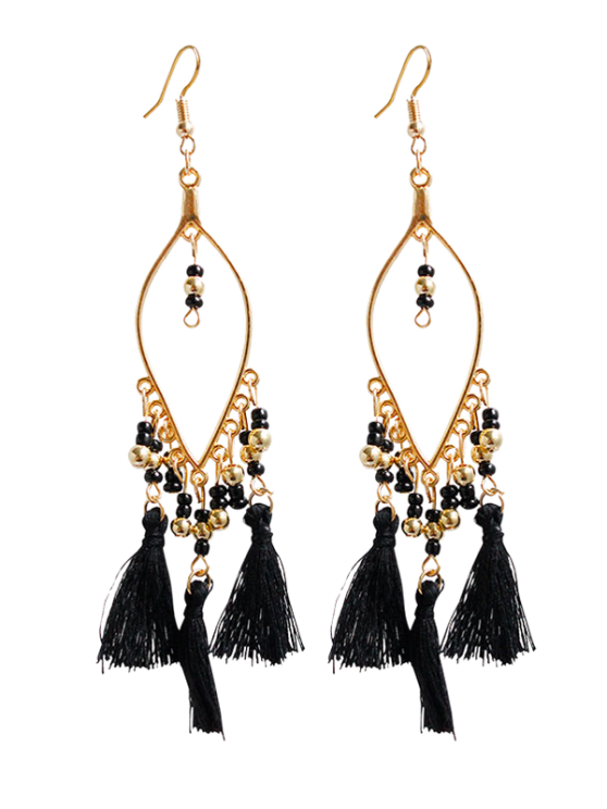 shop Vintage Beads Tassel Drop Earrings - BLACK
