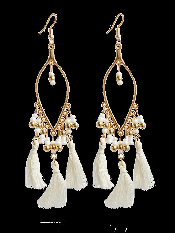 outfits Vintage Beads Tassel Drop Earrings - WHITE