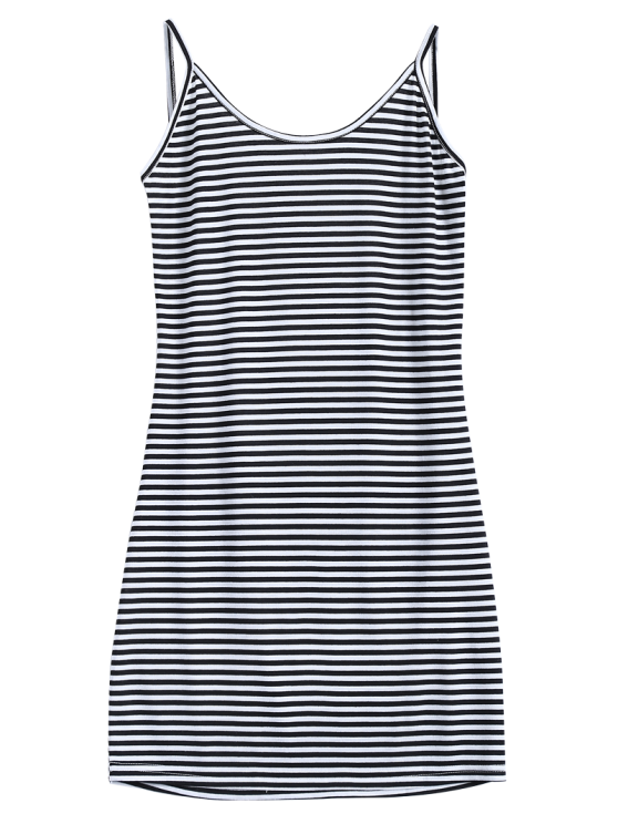 Striped Low Back Mini Bodycon Dress - WHITE AND BLACK S Mobile