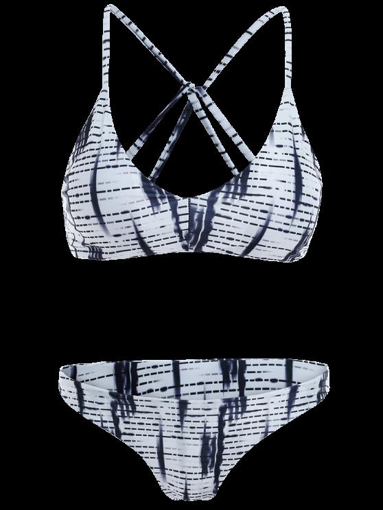 Strappy Striped Bikini Set - COLORMIX M Mobile
