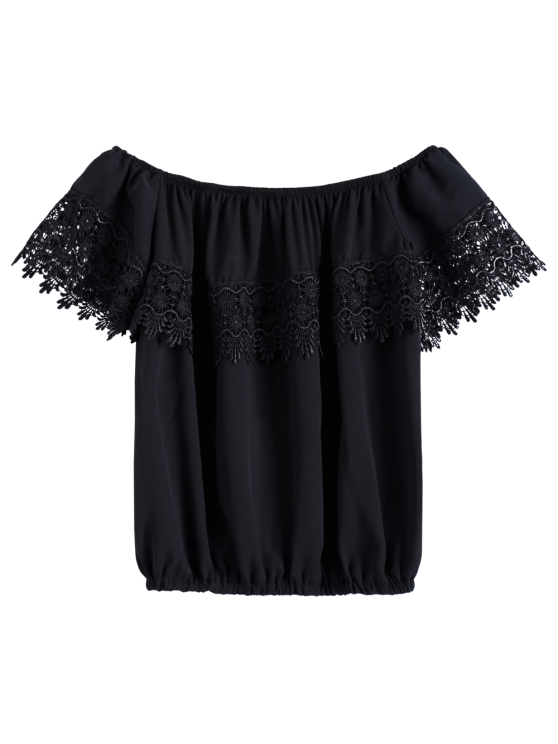 Lace Spliced Off The Shoulder Cropped T-Shirt - BLACK XS Mobile