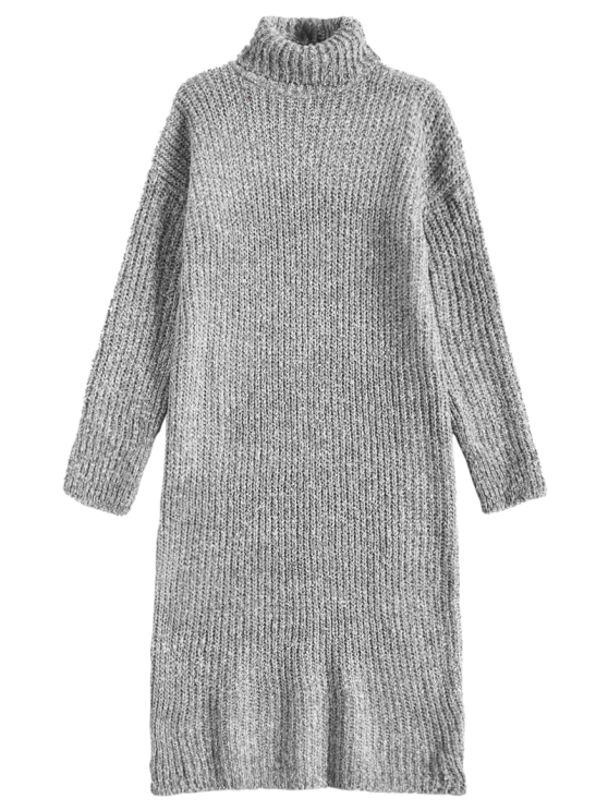 lady Turtle Neck Tweed Long Sweater Dress - GRAY ONE SIZE