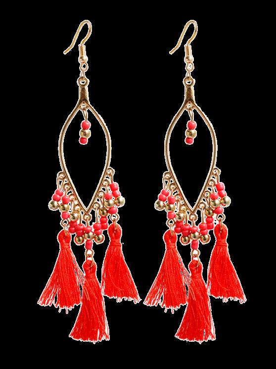 outfit Vintage Beads Tassel Drop Earrings - RED