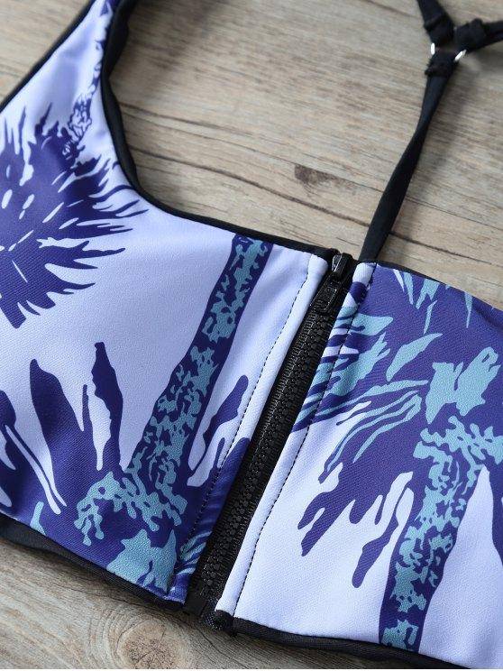 Printed Zipper Y Back Bikini Set - STONE BLUE M Mobile