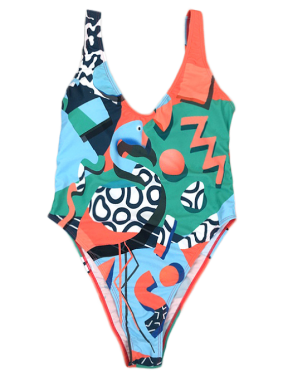 Low Back Abstract Print Swimsuit - GREEN M Mobile