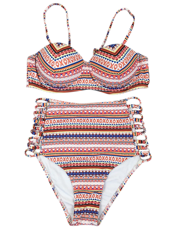 Strappy Tribal High Waisted Bikini Set - MULTICOLOR M Mobile