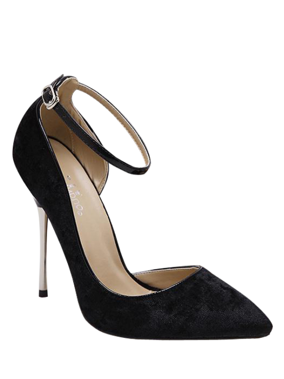 Velvet Pointed Toe Ankle Strap Pumps - BLACK 40 Mobile