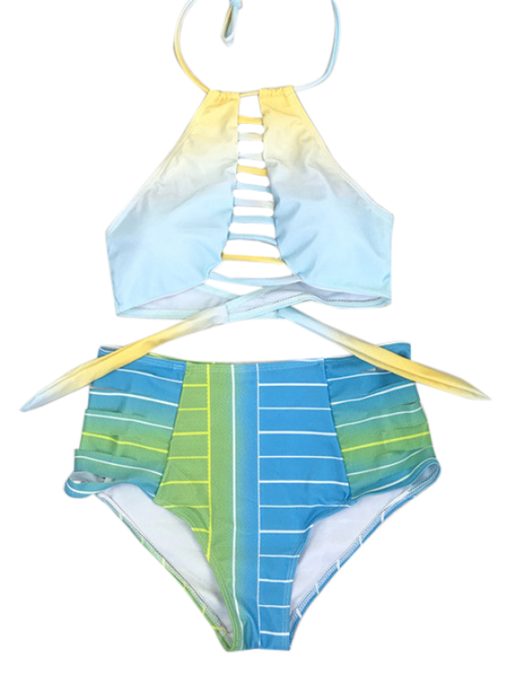 High Waist Halter Striped Bikini Set - BLUE M Mobile