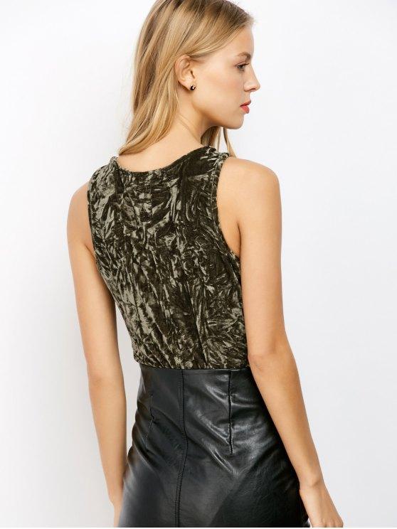 Lace Up Velvet Bodysuit - ARMY GREEN M Mobile