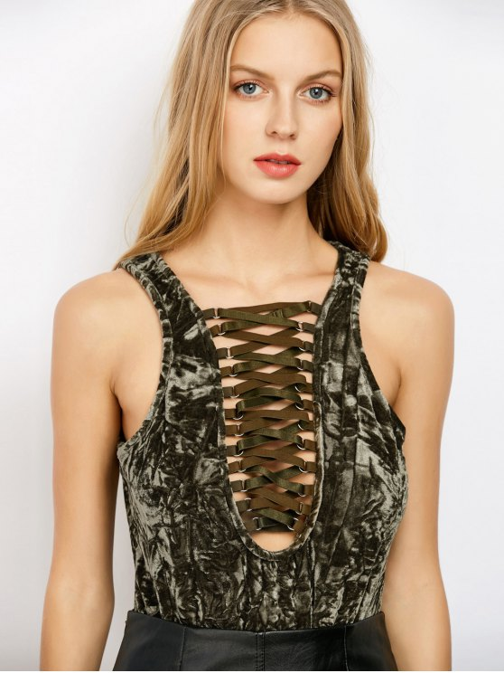 affordable Lace Up Velvet Bodysuit - ARMY GREEN XL