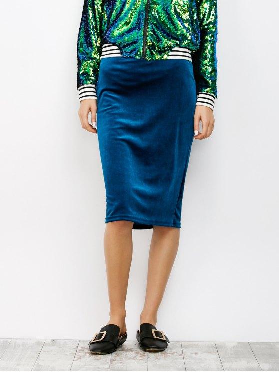 sale Midi Velvet Skirt - BLUE S