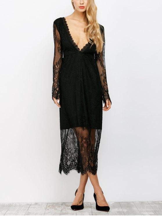 chic See Thru Low Cut Lace Maxi Dress - BLACK S