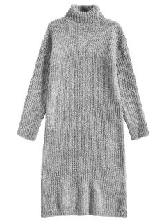 Robe Pull En Tweed Longue à Col Roulé - Gris