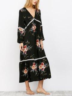 Crochet Trim Maxi Dress - Black Xl