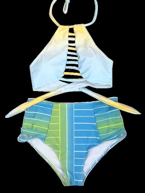buy High Waist Halter Striped Bikini Set - BLUE XL Mobile