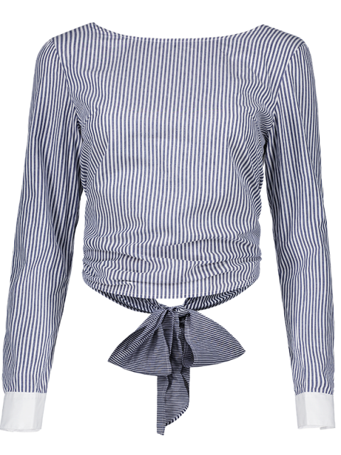 affordable Backless Bowknot Striped Blouse - STRIPE 2XL Mobile