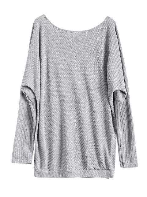 outfit Asymmetric Neckline Batwing Sweater - GRAY M Mobile