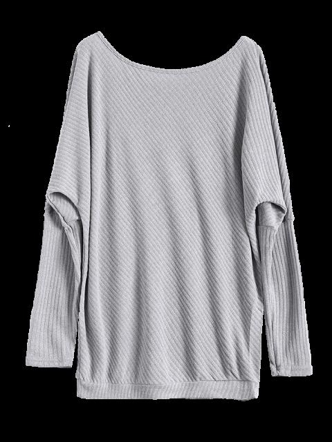 hot Asymmetric Neckline Batwing Sweater - GRAY L Mobile