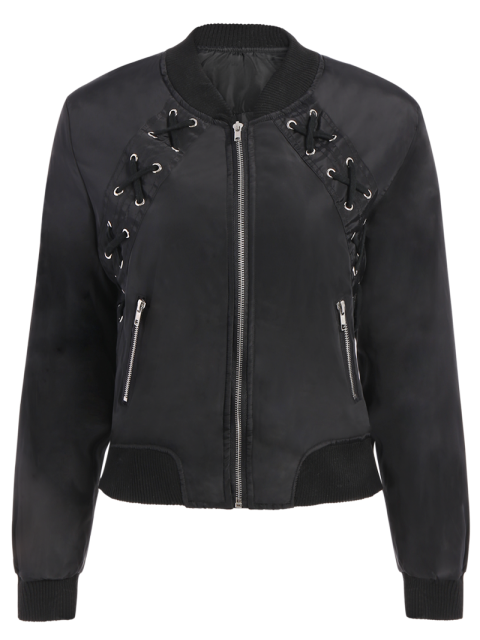 chic Lace Up Stand Neck Zipper Jacket - BLACK S Mobile
