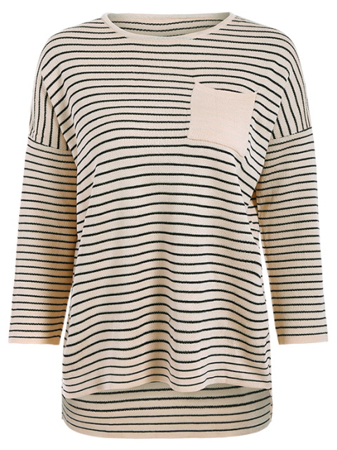 shop Striped Drop Shoulder Sleeve Sweater - OFF-WHITE ONE SIZE Mobile