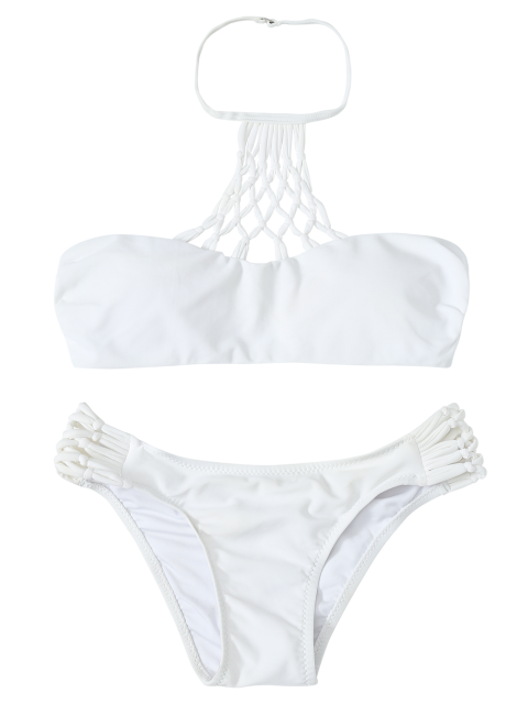 buy Openwork Halter Cut Out Bikini Set - WHITE L Mobile