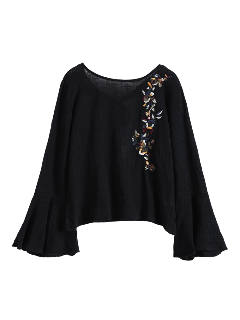 women Bell Sleeve Floral Embroidered Blouse - BLACK L Mobile