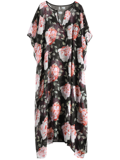 trendy Large Floral Kaftan Cover-Up - BLACK XL Mobile