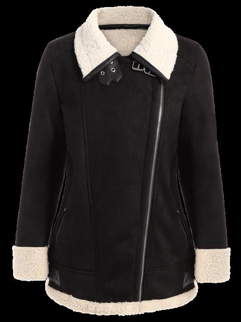 outfit Fleece Lining Faux Suede Funnel Coat - BLACK M Mobile
