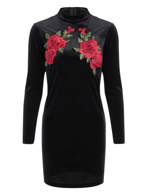 fancy Long Sleeve Floral Embroidered Bodycon Dress - BLACK L Mobile