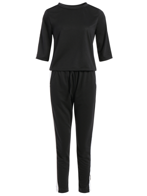 buy 1/2 Sleeve T Shirt + Pants - BLACK M Mobile