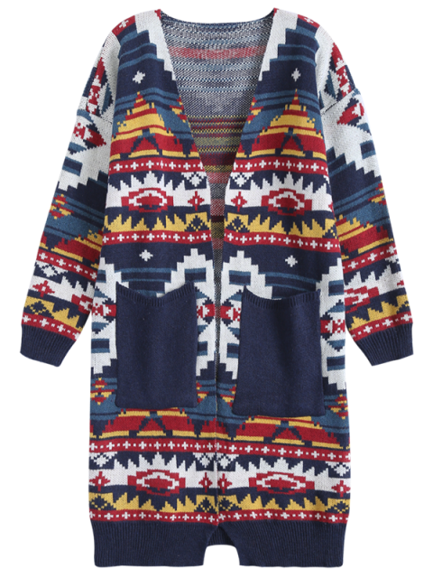 outfits Argyle Cocoon Cardigan - CADETBLUE ONE SIZE Mobile