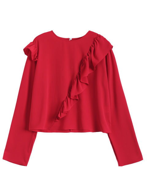 fashion Frilled Top - RED M Mobile