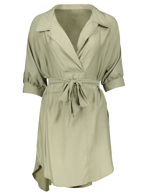 outfit High Low Belted Surplice Shirt Dress - LIGHT GREEN M Mobile