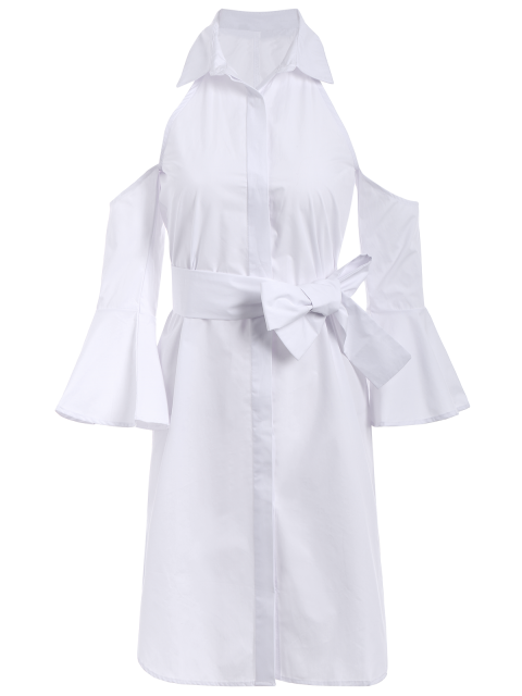 ladies Cold Shoulder Flared Cuffs Shirt Dress - WHITE 2XL Mobile